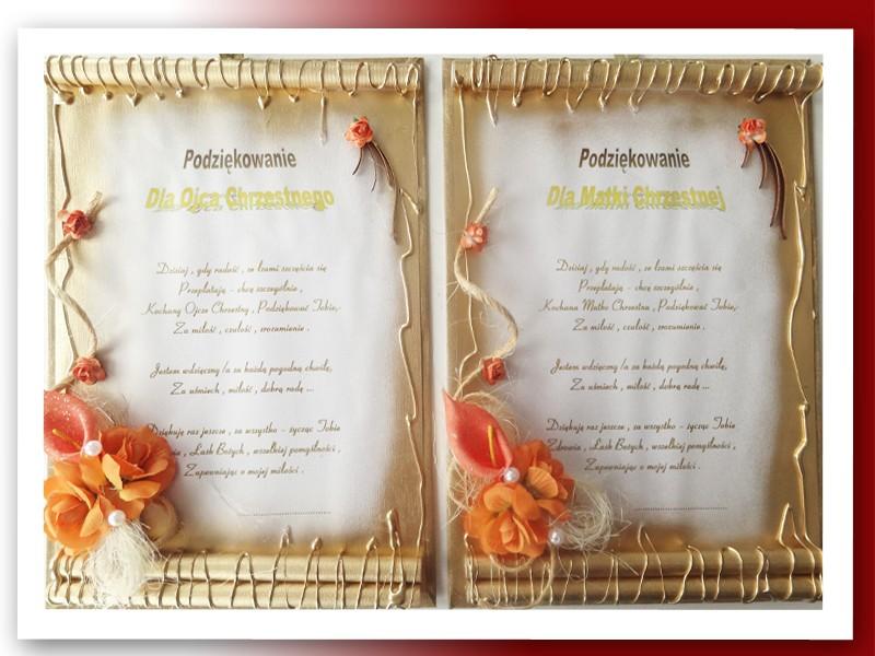 Podziękowania ślubne Dla Rodziców Chrzestnych Młodej Pary